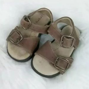 Toddler baby boy girl  brown leather sandals sz 5